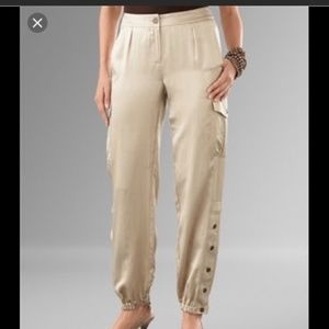 NWT Chicos Tan-Gold Silk Satin Cargo Pants 2 US 14